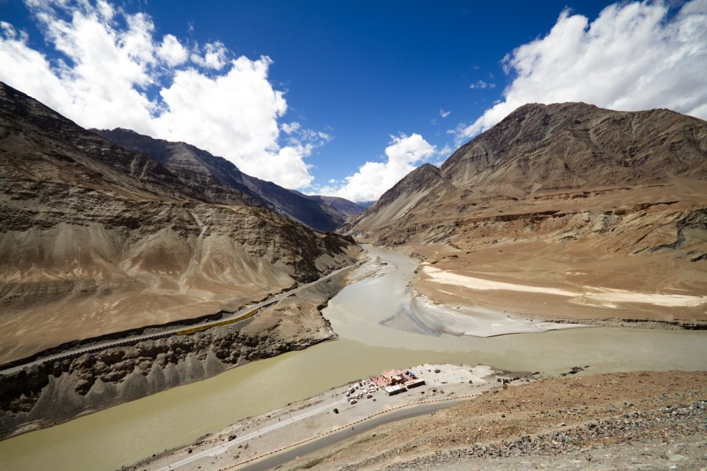 The Indus Zanskar Confluence near the Leh town